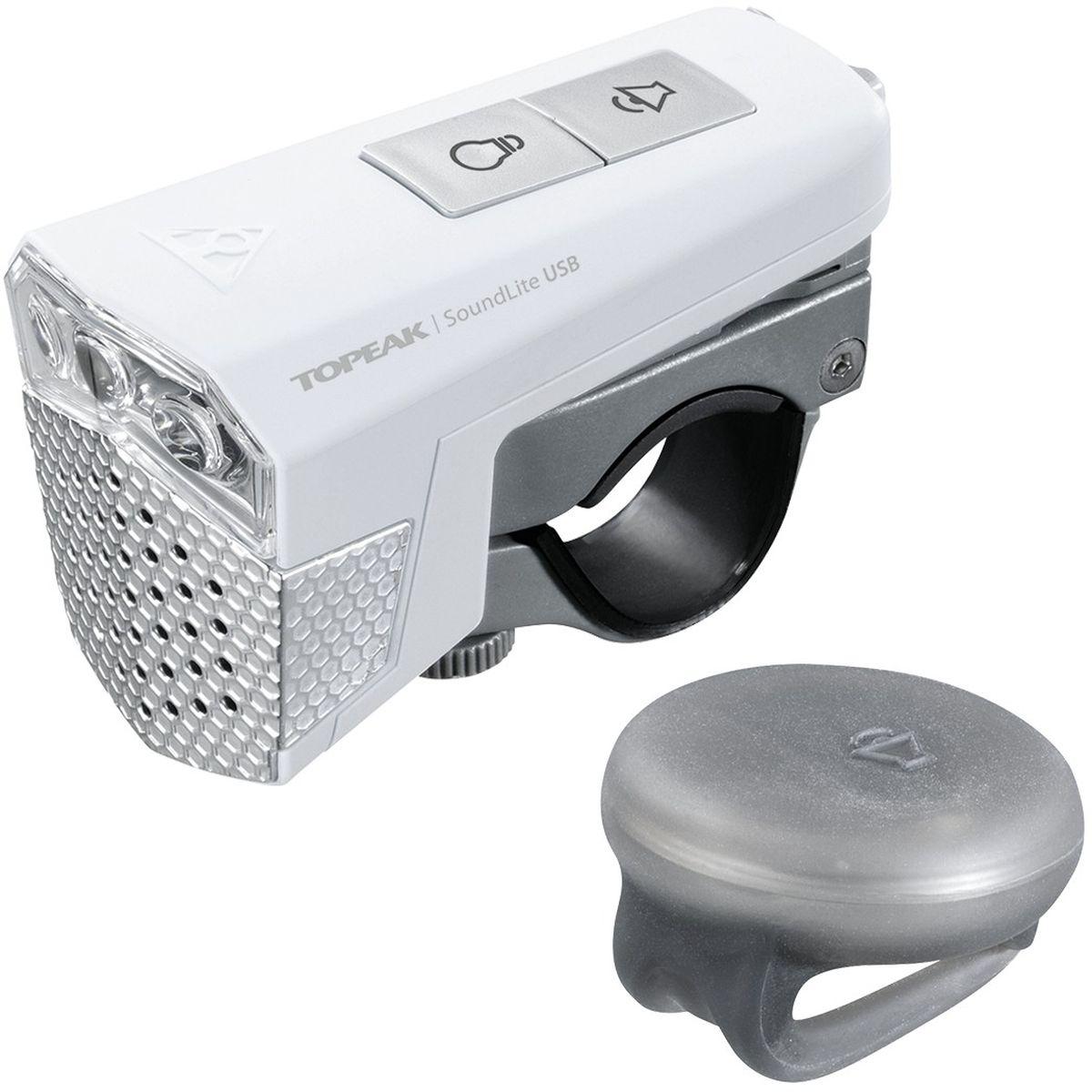 Фонарь передний TOPEAK SoundLite, с беспроводным звуковым управлением, с зарядкой, цвет: белыйTMS077WПередняя фара с встроенным звуковым сигналом. В комплекте беспроводная кнопка для управления гудком. Мощная передняя фара состоит из 3 супер-ярких LED светодиодов мощностью 0.2W каждый. Электронный гудок развивает громкость 75-97 dB, чего достаточно для безопасного передвижения даже в условиях шумного города. Встроенный аккумулятор заряжается от обычной USB зарядки (или компьютера). Лампа: 3х ярких LED 0.2W. Батарея: встроенный аккумулятор 3.7V 600 mAh Lithium Ion.