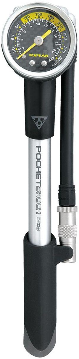 Насос велосипедный высокого давления TOPEAK Pocket Shock DXG, 300 PSI/20,7 barTPSMB-DXВысокоточный профессиональный насос для амортизаторов. Оснащен поворачивающимся шлангом, клапаном для спускания избыточного давления. Алюминиевый корпус, прорезиненная рукоятка. Фирменный клапан Pressure-Rite предотвращает потерю воздуха из системы при демонтаже насоса. Максимальное давление: 300 psi/ 20.7 атм. Размер: 21,5 x 4,3 x 4,5 см. Вес: 170 г.