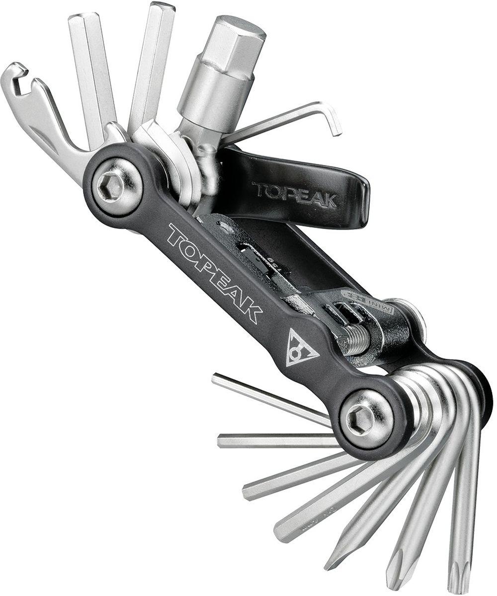 Мультитул TOPEAK Mini 18+, с чехлом, 19 функцийTT2518Легкий, компактный набор из 18-и инструментов в кованом анодированном корпусе. Выжимка цепи совместима со всеми многоскоростными цепями (кроме 11-и скоростных модификаций). Шестигранники 2, 2L, 2.5, 3, 4, 5, 6, 8, 10 мм, TORX 25, спицевые ключи 14g и 15g, стальная выжимка, алюминиевая монтажная лопатка для покрышек, 1 крестовая отвертка Phillips, 1 плоская отвертка, неопреновый чехол. Размер: 8,2 x 4,3 x 2 см. Вес: 185 г.