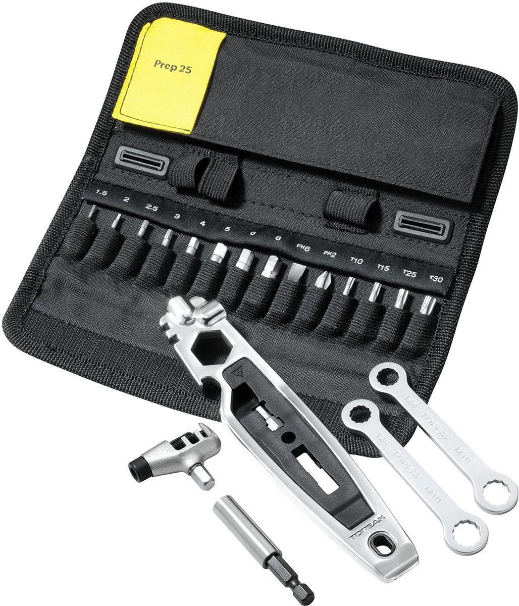 Набор инструментов TOPEAK Prep 25, в кейсе, 28 функцийTT2553Универсальный набор инструментов для домашнего ремонта велосипеда. 28 функций. Компактный нейлоновый кейс. Крепление на велосипед. Набор включает многофункциональную выжимку цепи. Количество инструментов (функций) - 28. Шестигранники - 1.5/2/2.5/3/4/5/6/8мм. Torx® - T10/T15/T25/T30. Спицевые ключи - 14 г/15 г. Отдельный набор для ремонта цепи из Cr-Mo стали. Монтажки 1х металлическая, 1х пластиковая. Отвертки - Phillips (крестовая) и плоская. Открывашка для бутылок из Cro-Mo стали. Многофункциональная выжимка цепи.