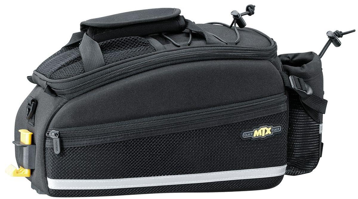 Сумка велосипедная TOPEAK MTX EX, с держателем для бутылкиTT9646BСумка Topeak MTX Trunk Bag EXP совместима с багажниками с ситемой Topeak MTX Trunk. Имеет раздельное основное отделение, два дополнительных боковых отдела и небольшой внешний карман для бутылки. В комплекте так же идет плечевой ремень, имеется внешний сетчатый карман. Объем: 8 л. Размер: 35 x 21 x 19 см. Вес: 870 г.