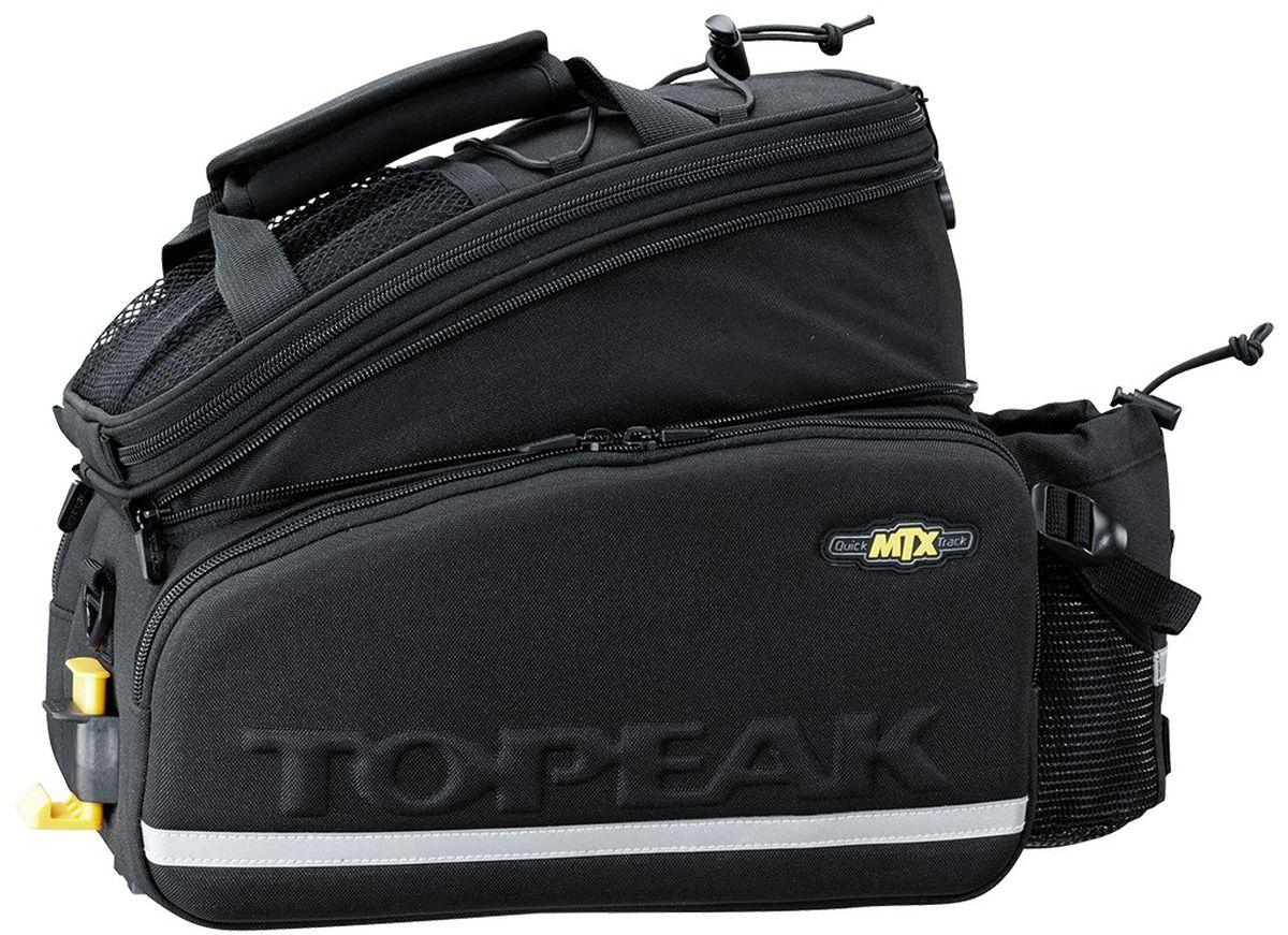 Сумка велосипедная TOPEAK MTX, с держателем для бутылкиTT9648BСумка Topeak MTX Trunk Bag EXP совместима с багажниками с ситемой Topeak MTX Trunk. Имеет раздельное основное отделение, два дополнительных боковых отдела и небольшой внешний карман для бутылки. В комплекте так же идет плечевой ремень, имеется внешний сетчатый карман. Объем: 12,3 л. Размер: 36 x 25 x 21.5-29 см. Вес: 985 г.