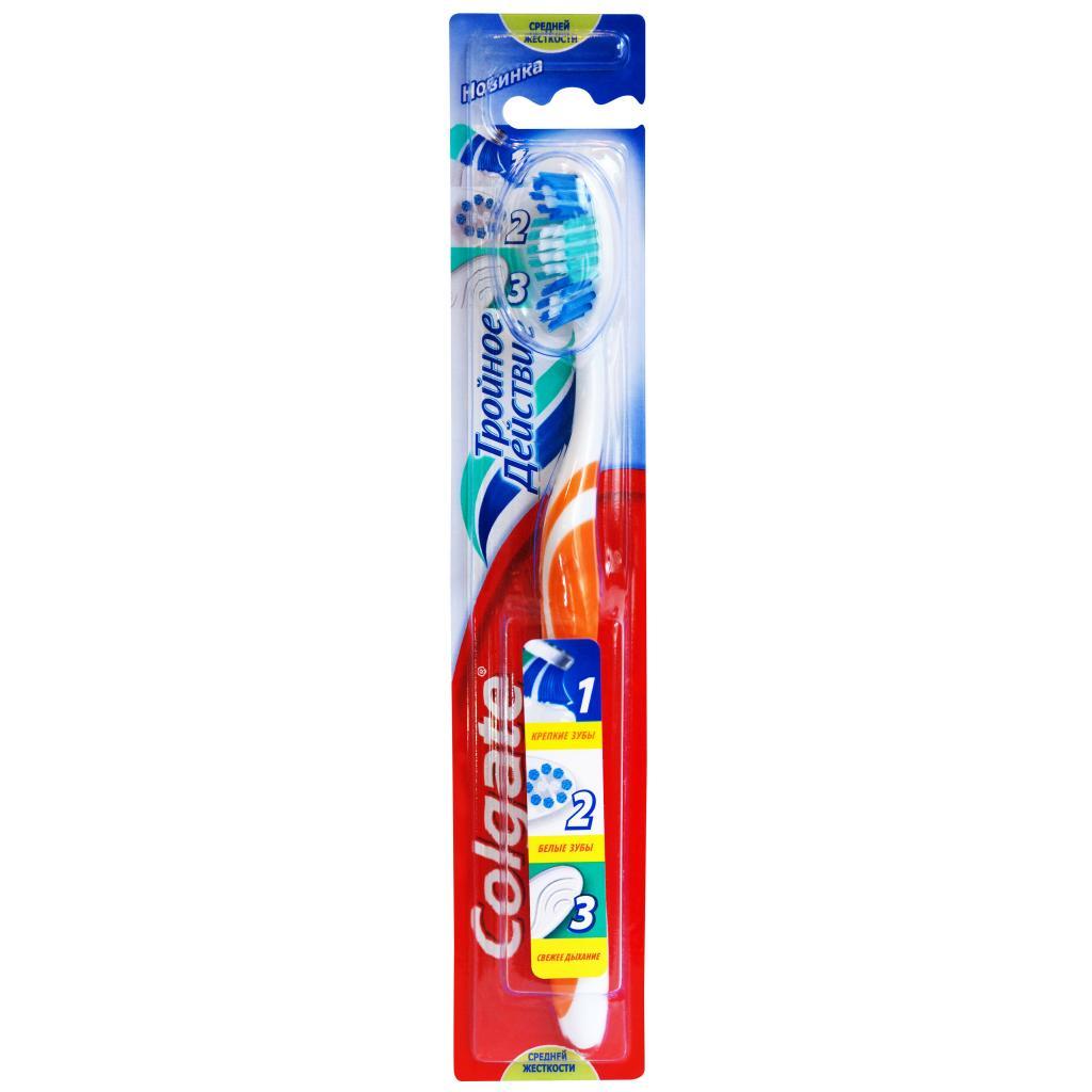 Colgate Зубная щетка Тройное действие средняя цвет оранжевыйFCN21589/FCN21589_оранжевыйColgate Зубная щетка Тройное действие средняя цвет оранжевый