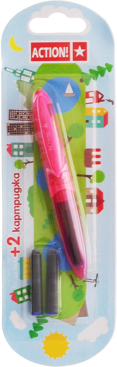 Action! Ручка перьевая с двумя картриджами цвет корпуса розовый AFP1037AFP1037_розовыйПерьевая ручка, несомненно, заинтересует ребенка, мечтающего о взрослых предметах письма, а также поможет выработать навыки каллиграфии и исправить хромающий почерк. Перьевая ручка Action! с запасными картриджами отличается от взрослых ручек широким пластиковым корпусом, эргономичной зоной гриппа. В комплекте три чернильных картриджа - один в ручке и два запасных в блистерном отсеке.