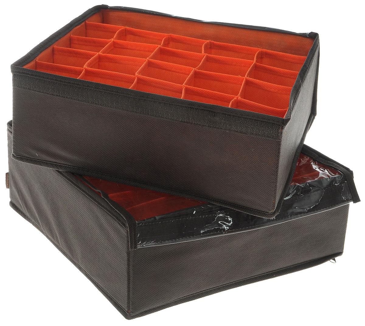 Набор органайзеров для белья Все на местах Классика, с крышкой, цвет: коричневый, оранжевый, 2 предмета1009015Набор состоит из двух органайзеров для хранения косметики и аксессуаров, а также белья. Изделия выполнены из высококачественного нетканого материала (спанбонда), который обеспечивает естественную вентиляцию, позволяя воздуху проникать внутрь, но не пропускает пыль. Вставки из ПВХ хорошо держат форму. Набор органайзеров поможет привести элементы женского туалета или белья в порядок. Оригинальный дизайн придется по вкусу ценительницам эстетичного хранения. Размер органайзеров: 32 см х 32 см х 11 см.