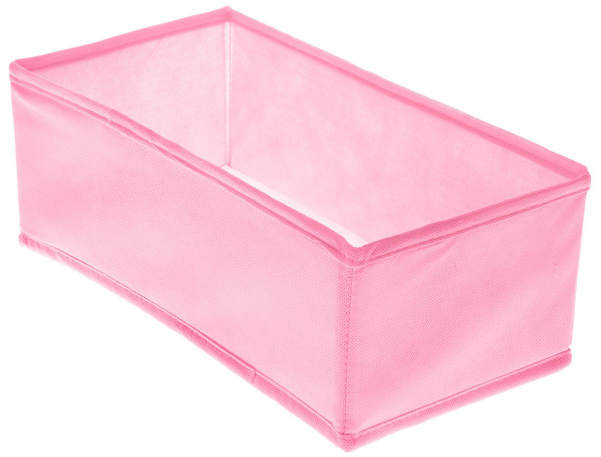 Органайзер Все на местах Minimalistic, цвет: розовый, 32 х 16 х 11 см1014056.Органайзер поможет удобно хранить вещи. Изделие выполнено из высококачественного нетканого материала, который обеспечивает естественную вентиляцию, позволяя воздуху проникать внутрь, но не пропускает пыль. Вставки из ПВХ хорошо держат форму. Изделие содержит одну большую секцию. Органайзер легко раскладывается и складывается. Оригинальный дизайн придется по вкусу ценителям эстетичного хранения. Размер органайзера в разложенном виде: 32 х 16 х 11 см.