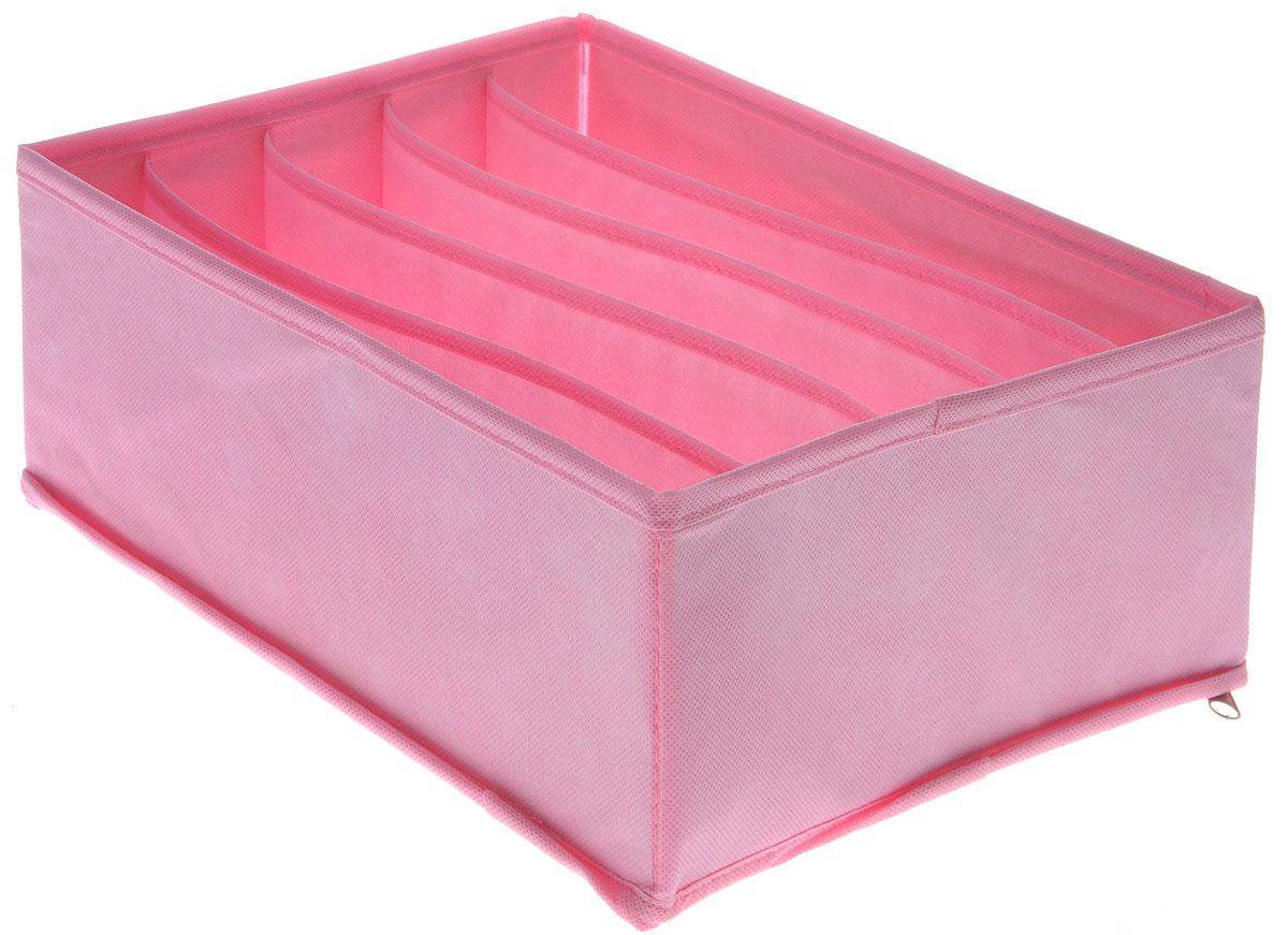 Органайзер Все на местах Minimalistic, цвет: розовый, 5 ячеек, 30 х 24 х 11 см1014048.Органайзер Все на местах Minimalistic поможет упорядочить размещение небольших вещей. Изделие выполнено из высококачественного нетканого материала, который обеспечивает естественную вентиляцию, позволяя воздуху проникать внутрь, но не пропускает пыль. Вставки из ПВХ хорошо держат форму. Изделие содержит 5 секций. Органайзер легко раскладывается и складывается. Оригинальный дизайн придется по вкусу ценителям эстетичного хранения. Размер органайзера в разложенном виде: 30 х 24 х 11 см.