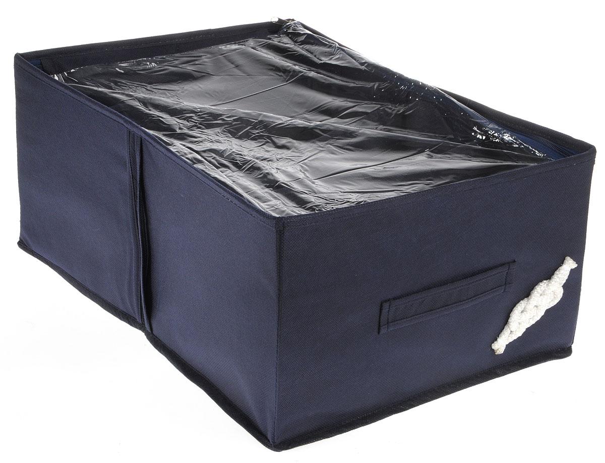 Кофр для обуви Все на местах Классика, цвет: темно-синий, 4 секции, 34 x 48 x 20 см1004017Компактный складной органайзер с прозрачной крышкой из высококачественного нетканого материала, который обеспечивает естественную вентиляцию. Материал позволяет воздуху свободно проникать внутрь, но не пропускает пыль. Органайзер отлично держит форму, благодаря вставкам из ПВХ. Изделие имеет 4 секции для хранения обуви. Такой органайзер позволит вам хранить обувь компактно и удобно. Размер секции: 17 х 24 см.