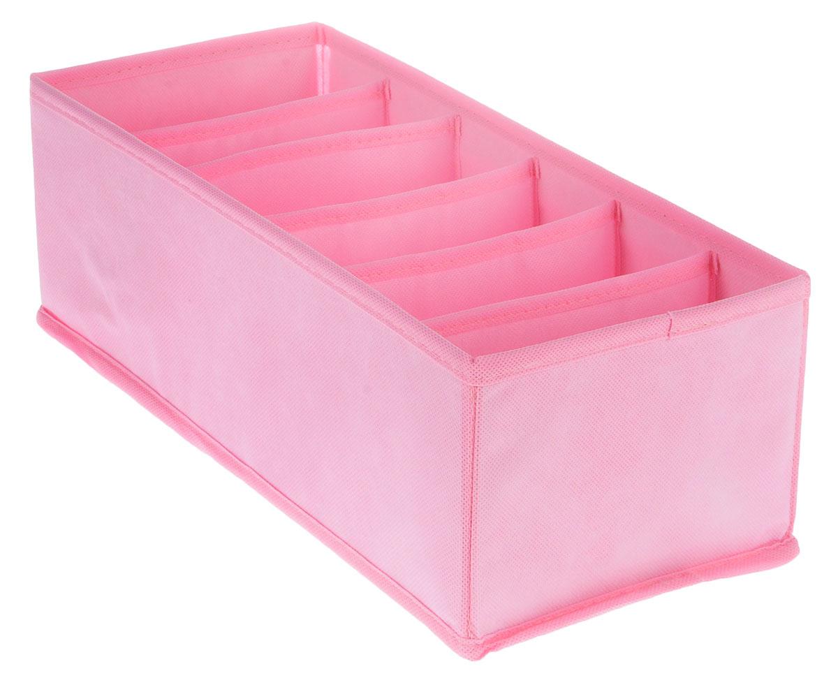 Органайзер Все на местах Minimalistic, цвет: розовый, 6 ячеек, 32 х 16 х 11 см1014046Органайзер Все на местах Minimalistic поможет упорядочить размещение небольших вещей. Изделие выполнено из высококачественного нетканого материала, который обеспечивает естественную вентиляцию, позволяя воздуху проникать внутрь, но не пропускает пыль. Вставки из ПВХ хорошо держат форму. Изделие содержит 6 секций. Органайзер легко раскладывается и складывается. Оригинальный дизайн придется по вкусу ценителям эстетичного хранения. Размер органайзера в разложенном виде: 32 х 16 х 11 см.