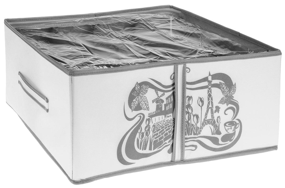 Кофр для хранения обуви Все на местах Париж, цвет: серый, белый, 4 секции, 34 х 48 х 20 см1003017Компактный складной органайзер с прозрачной крышкой из высококачественного нетканого материала, который обеспечивает естественную вентиляцию. Материал позволяет воздуху свободно проникать внутрь, но не пропускает пыль. Органайзер отлично держит форму, благодаря вставкам из ПВХ. Изделие имеет 4 секции для хранения обуви. Такой органайзер позволит вам хранить обувь компактно и удобно. Размер секции: 17 х 22 см.