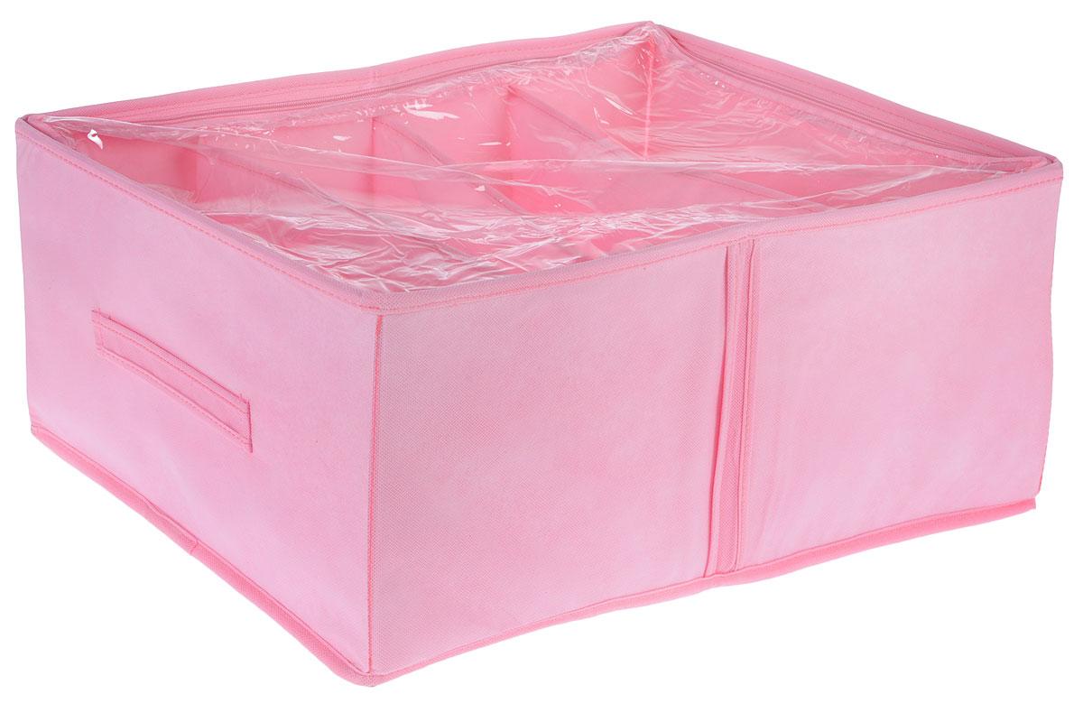 Кофр для обуви Все на местах Minimalistic, цвет: розовый, 4 секции, 34 x 48 x 20 см1014017