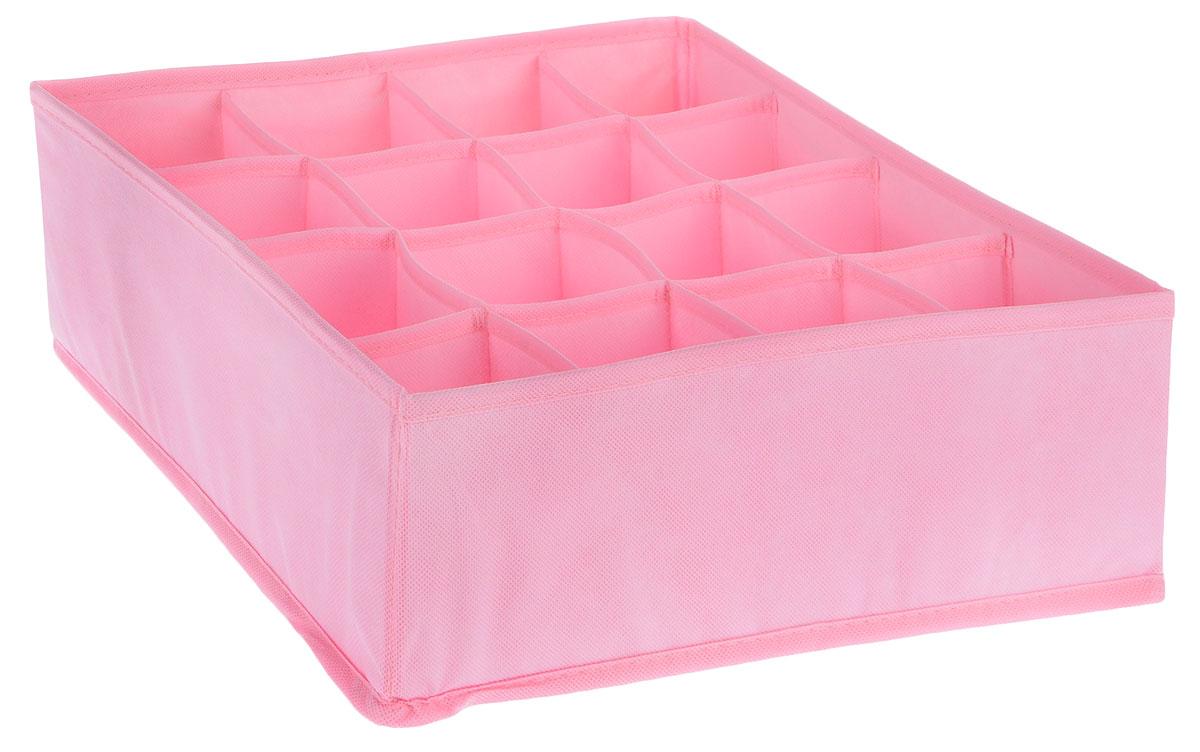 Органайзер Все на местах Minimalistic, цвет: розовый, 16 ячеек, 32 х 32 х 11 см1014043Органайзер поможет упорядочить размещение небольших вещей. Изделие выполнено из высококачественного нетканого материала, который обеспечивает естественную вентиляцию, позволяя воздуху проникать внутрь, но не пропускает пыль. Вставки из ПВХ хорошо держат форму. Изделие содержит 16 секций. Органайзер легко раскладывается и складывается. Оригинальный дизайн придется по вкусу ценителям эстетичного хранения. Размер органайзера в разложенном виде: 32 х 32 х 11 см.