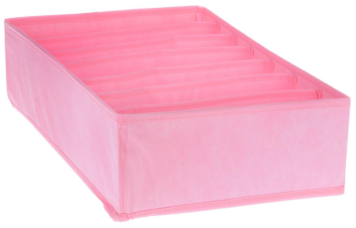 Органайзер Все на местах Minimalistic, цвет: розовый, 7 ячеек, 32 х 32 х 11 см1014016Органайзер поможет упорядочить размещение небольших вещей. Изделие выполнено из высококачественного нетканого материала, который обеспечивает естественную вентиляцию, позволяя воздуху проникать внутрь, но не пропускает пыль. Вставки из ПВХ хорошо держат форму. Изделие содержит 7 секций. Органайзер легко раскладывается и складывается. Оригинальный дизайн придется по вкусу ценителям эстетичного хранения. Размер органайзера в разложенном виде: 32 х 32 х 11 см.