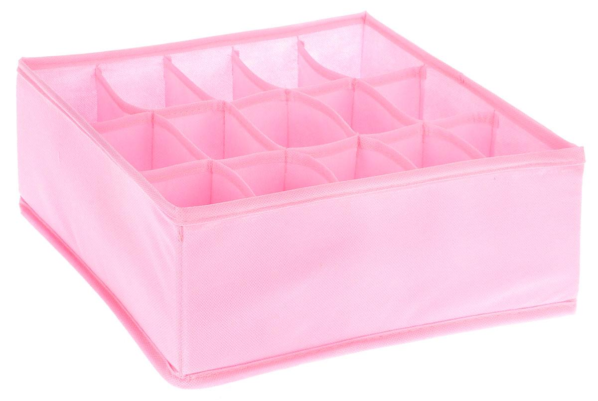 Органайзер Все на местах Minimalistic, цвет: розовый, 15 ячеек, 30 х 24 х 11 см1014049.Органайзер поможет упорядочить размещение небольших вещей. Изделие выполнено из высококачественного нетканого материала, который обеспечивает естественную вентиляцию, позволяя воздуху проникать внутрь, но не пропускает пыль. Вставки из ПВХ хорошо держат форму. Изделие содержит 15 секций. Органайзер легко раскладывается и складывается. Оригинальный дизайн придется по вкусу ценителям эстетичного хранения. Размер органайзера в разложенном виде: 30 х 24 х 11 см.
