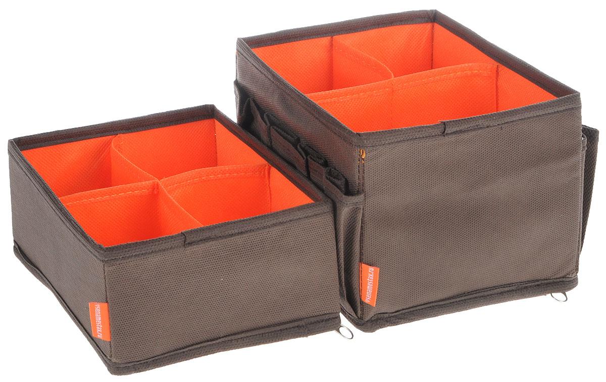 Набор органайзеров для косметики Все на местах Классика, цвет: коричневый, оранжевый, 2 предмета1009003Набор состоит из двух органайзеров для хранения косметики и аксессуаров. Изделия выполнены из высококачественного нетканого материала (спанбонда), который обеспечивает естественную вентиляцию, позволяя воздуху проникать внутрь, но не пропускает пыль. Вставки из ПВХ хорошо держат форму. Мягкие перегородки образуют секции для хранения разнообразной косметики. Наружные кармашки позволяют удобно хранить мелкие аксессуары. Изделия отличаются мобильностью: легко раскладываются и складываются. Набор органайзеров для косметики и аксессуаров поможет привести элементы женского туалета в порядок. Оригинальный дизайн придется по вкусу ценительницам эстетичного хранения. Размер органайзеров: 15 см х 15 см х 12 см; 15 см х 15 см х 7 см.
