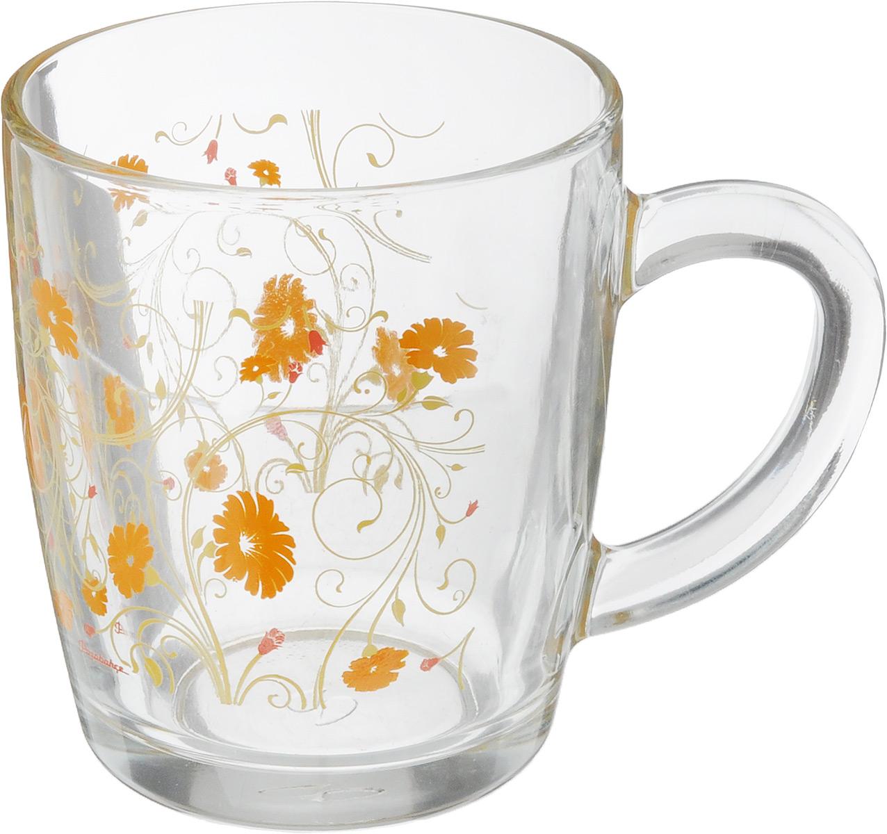 Кружка Pasabahce Serenade, цвет: прозрачный, оранжевый, 340 мл55531SLBD16Кружка Pasabahce Serenade изготовлена из прозрачного стекла и украшена красивым рисунком. Изделие идеально подходит для сервировки стола. Кружка не только украсит ваш кухонный стол, но и подчеркнет прекрасный вкус хозяйки. Диаметр кружки (по верхнему краю): 8 см. Высота кружки: 9,5 см. Объем кружки: 340 мл.