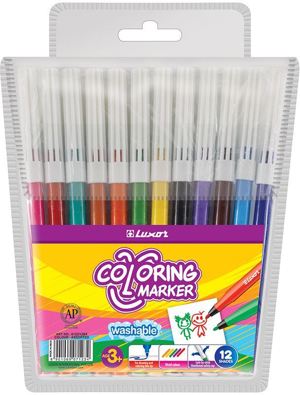 Luxor Набор фломастеров Coloring 12 цветов6101/12 WTНетоксичные смываемые фломастеры с вентилируемым колпачком.