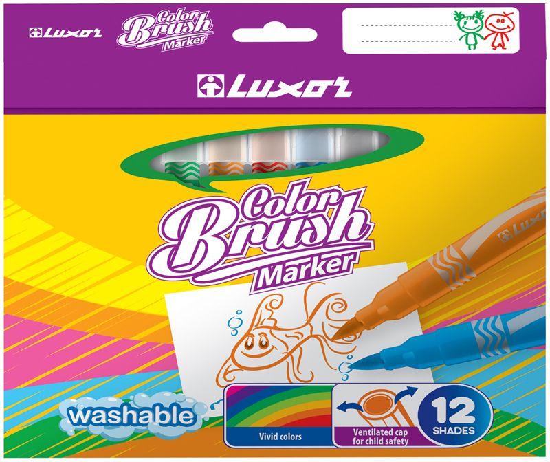 Luxor Набор фломастеров Color Brush 12 цветов6106/Box 12Яркий и практичный набор фломастеров Luxor Color Brushс продуманной палитрой цветов, непременно понравится вашему юному художнику. Фломастеры с кистевым наконечником позволяют рисовать линии различной толщины. Корпус из пластика предохраняет чернила от преждевременного высыхания, гарантирует длительный срок службы. Набор содержит 12 фломастеров ярких насыщенных цветов. Уважаемые клиенты! Обращаем ваше внимание на возможные изменения в дизайне упаковки. Качественные характеристики товара остаются неизменными. Поставка осуществляется в зависимости от наличия на складе.