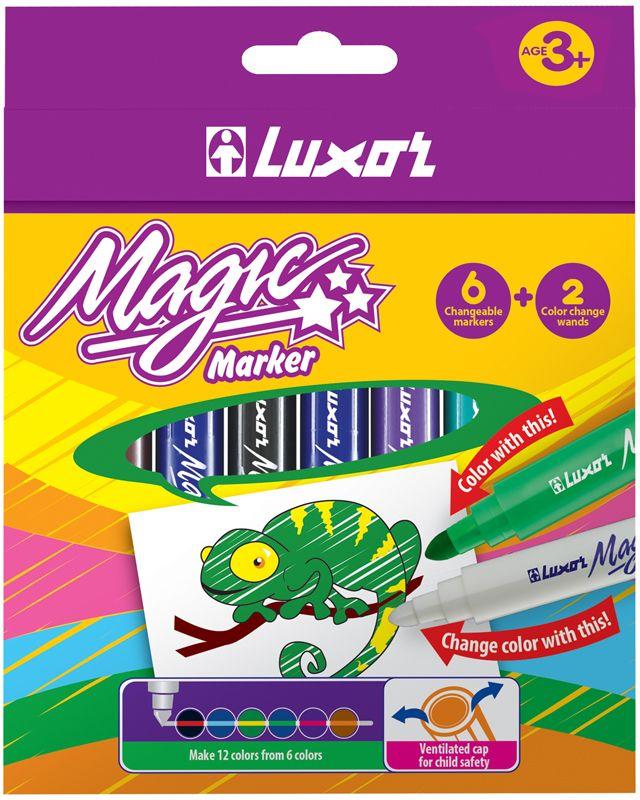 Luxor Набор фломастеров меняющих цвет Magic 8 цветов6104/Box 8Набор фломастеров, меняющих цвет. В состав набора входят шесть цветных фломастеров и два фломастера, меняющие цвет линии, нарисованной цветным фломастером.