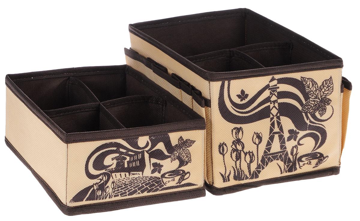 Набор органайзеров для косметики Все на местах Париж, цвет: коричневый, бежевый, 2 предмета1001003.