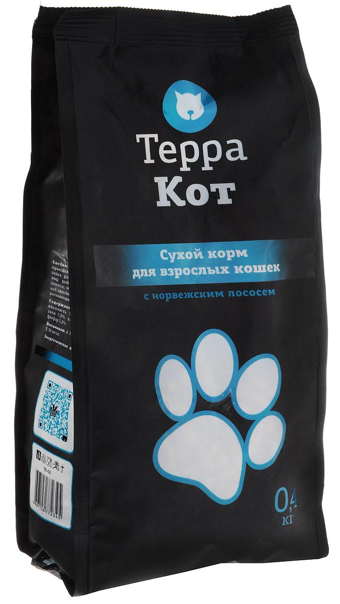 Сухой корм Терра Кот для взрослых кошек, с норвежским лососем, 0,4 кг00-00000400Сухой корм Терра Кот - это полноценное сбалансированное питание для взрослых кошек, разработанное с использованием современных технологий. Сухой корм Терра Кот обеспечивает: крепкие кости и зубы; энергетический баланс; поддержку иммунитета; питание сердца; здоровую шерсть и кожу; витамины; отличное зрение; развитую мускулатуру; защиту ЖКТ. Характеристики: Состав: злаки, мясо и продукты животного происхождения, пшеничные отруби, экстракт белка растительного происхождения, рыбий жир, рыба и продукты переработки рыбы (лосось), минеральные добавки, пульпа сахарной свеклы (жом), витамины, пивные дрожжи, антиоксидант, таурин. Содержание питательных веществ: влажность 9%, протеин 27%, жир 10%, зола 7,5%, клетчатка 3%, кальций 1,3%, фосфор 1,2%. Витаминов: А 5000 МЕ/кг, D3 500 МЕ/кг, Е 30 МЕ/кг. Энергетическая ценность: 345 ккал/100 г. Вес: 0,4 кг. Артикул: 00-00000400.
