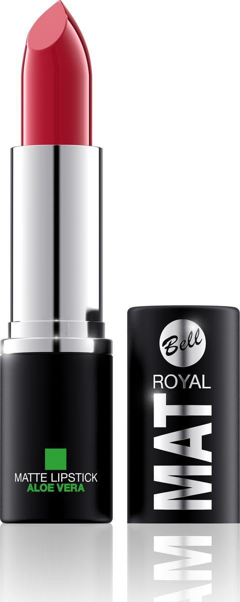 Bell Помада Губная Матовая С Алоэ Вера Royal Mat Lipstick Тон 12BpomRM012Помада создает матовую поверхность и максимальную насыщенность цвета. Аппликация помады является исключительно нежной и легкой, создавая при этом матовый эффект. Формула, содержащая регенерирующие компоненты алоэ дополнительно питает и ухаживает за губами. Благодаря высокому содержанию пигментов и стойкой формуле помада держится на губах долгое время.