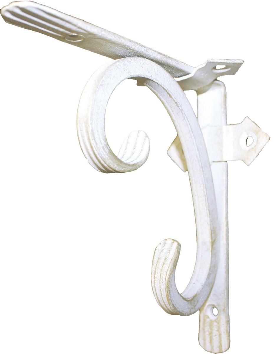 Кронштейн кованый AVMmetall, 150 х 150 мм, цвет: белый, патина: золото150-w-gКронштейн кованый выполнен из стали толщиной 4 мм и 10 мм. Назначение: подвес для цветов, кронштейн для полки. Покрытие эмаль белого цвета. Патина (золото). При правильном монтаже выдерживает статичную нагрузку 150 кг