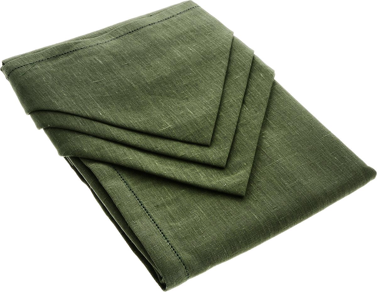 Комплект столового белья Гаврилов-Ямский Лен, цвет: темно-зеленый, 7 предметов10со6861-3Комплект столового белья Гаврилов-Ямский Лен состоит из скатерти и 6 салфеток, изготовленных из льна. Такой комплект станет отличным украшением интерьера столовой или кухни и придаст праздничный вид вашему столу. Изделия обладают плотной текстурой, высокой износостойкостью и прочностью. Лен - поистине уникальный природный материал, который отличается высокой экологичностью. Изделия изо льна обладают уникальными потребительскими свойствами. Скатерти из натурального льна придадут вашему дому уют и тепло натурального материала. История льна восходит к Древнему Египту: в те времена одежда изо льна считалась достойной фараонов! На Руси лен возделывали с незапамятных времен - изделия из льняной ткани считались показателем достатка, а льняная одежда служила символом невинности и нравственной чистоты. Размер скатерти: 140 х 180 см. Размер салфетки: 42 х 42 см.