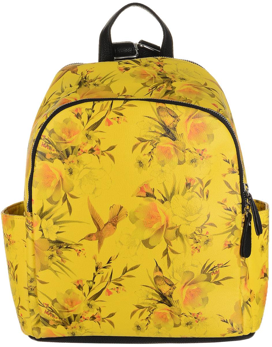 Рюкзак женский OrsOro, цвет: черный, желтый, мультиколор. D-242/5D-242/5Необычный рюкзак от OrsOro имеет два отделения на застежке-молнии, два наружных накладных боковых кармашка и прорезной карман сзади на застежке-молнии. Рюкзак изготовлен из прочной экокожи и оформлен принтом с экзотической фауной. Внутри вместительного заднего отделения находятся два кармашка для мелочей или под сотовый телефон и один прорезной карман на застежке-молнии. Переднее, более плоское отделение рюкзака, может быть использовано под планшет. Рюкзак обладает удобной ручкой сверху для переноски и двумя регулируемыми плечевыми ремнями-лямками.