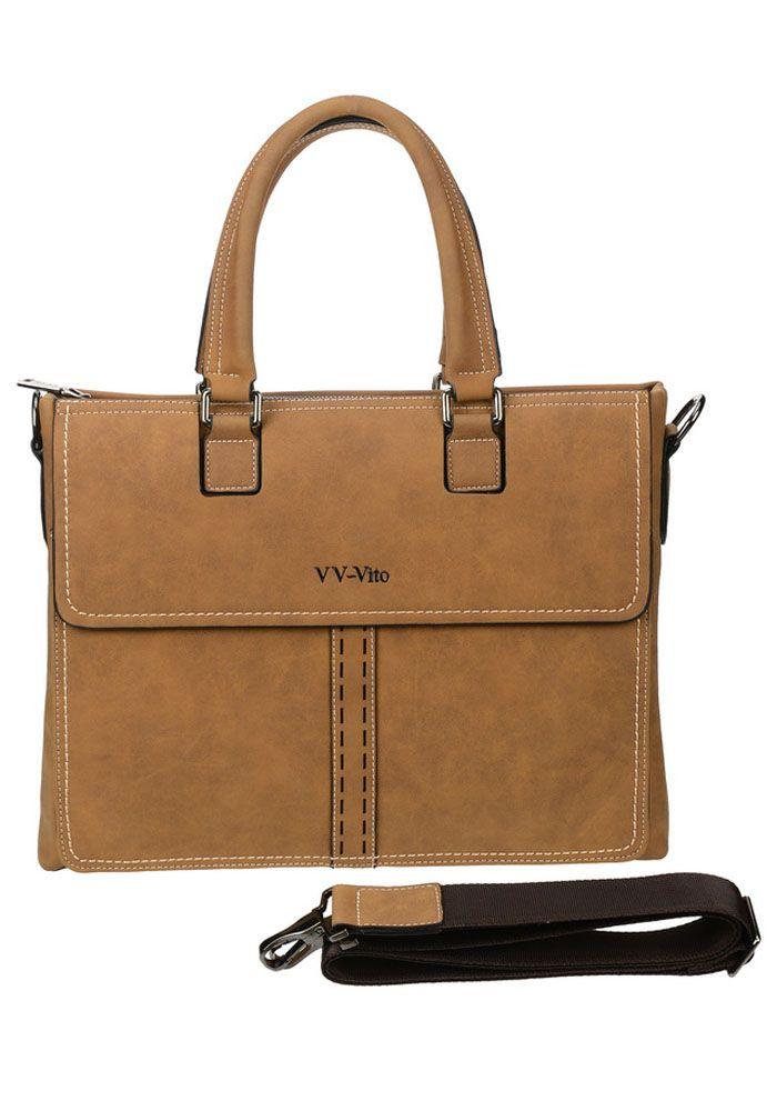Сумка мужская Vera Victoria Vito, цвет: коричневый. 35-602-635-602-6Шикарная деловая сумка для документов от VV-Vito из матовой эко-кожи коричневого цвета. Особое внимание привлечет контрастная строчка и оригинальный крой, которые являются визитной карточкой этой модели. Сумка закрывается на молнию. Впереди большой карман с клапаном на магнитах. Одно удобное вместительное отделение, с ним можно с комфортом разместить повседневными вещи, особенно если их приходиться довольно часто доставать в течении дня. Внутри есть отделение для ноутбука на липучке, карман на молнии и кармашки для мелочей. На задней части расположен один широкий карман во всю длину модели. Прочный плечевой ремень в комплекте.
