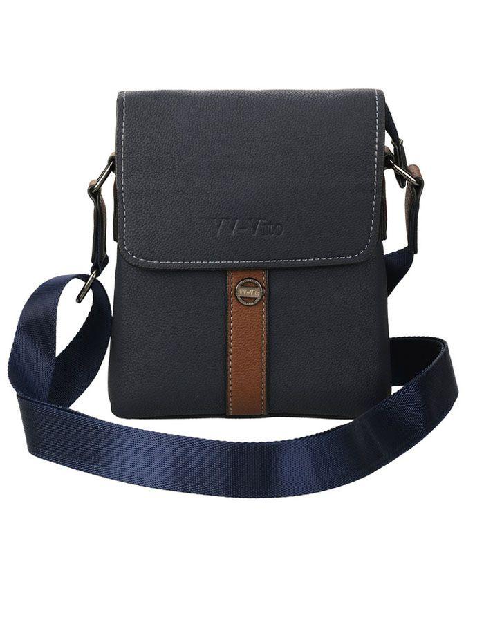 Сумка мужская Vera Victoria Vito, цвет: синий. 35-605-535-605-5Компактная мужская сумка через плечо от VV-Vito. Это стильная и одновременно удобная, лаконичная модель. Она сшита из отличного качества эко-кожи, современного и практичного материала. Эко-кожа имеет очень красивую текстуру, а синий оттенок придает ей особой эстетичности. Декорирована контрастной строчкой и коричневой вставкой по центру. Прочный ремень, удобно регулируемый под нужную Вам длину. Детали: закрывается на клапан с магнитами и молнию, одно отделение, внутри карман на молнии и кармашек для мелочей, два кармана с внешней стороны.