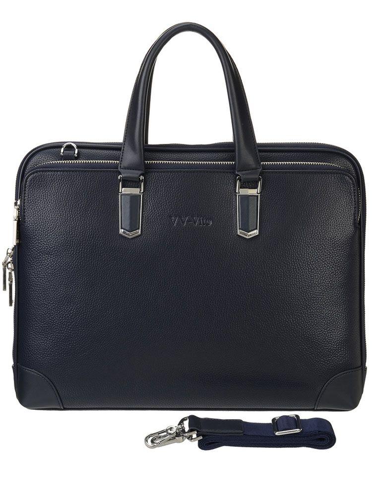 Сумка мужская Vera Victoria Vito, цвет: темно-синий. 35-702-535-702-5Мужская деловая сумка должна быть не только функциональной, но и стильной. Представленное изделие выполнено из экокожи, отличается строгостью форм и качеством исполнения. Закрывается с трех сторон на металлическую молнию с двумя бегунками. На лицевой и задней стороне расположены большие карманы на молнии. Внутри два отделения, разделительный карман на молнии, карман на молнии и один открытый. Благодаря регулируемому ремню на карабине можно носить на плече. Аксессуар очень практичен в использовании.