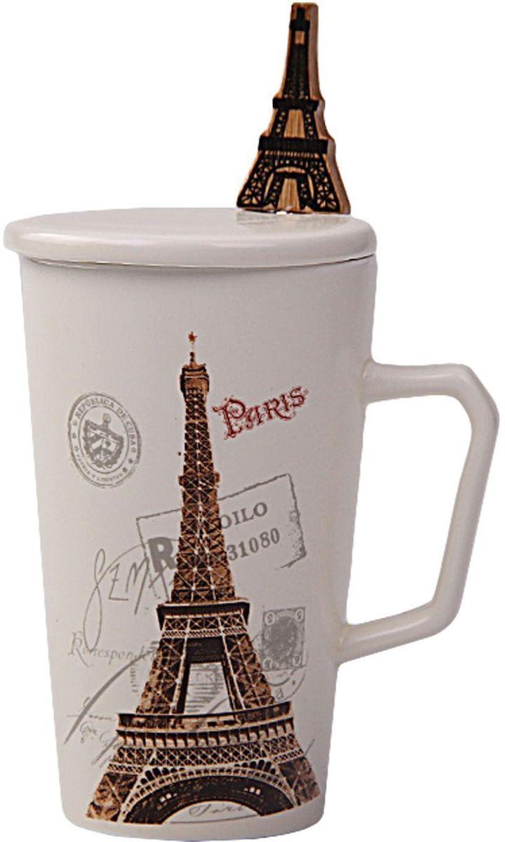 Кружка Patricia Париж, с ложкой и крышкой, 350 мл. IM99-0553/4IM99-0553/4Кружка выполнена из керамики высшего качества. В комплекте идет ложка из стали. Изделие декорировано рисунком с изображением эйфелевой башни. Кружка 12,5х см, объем 350 мл ложка длина 16,5 см.