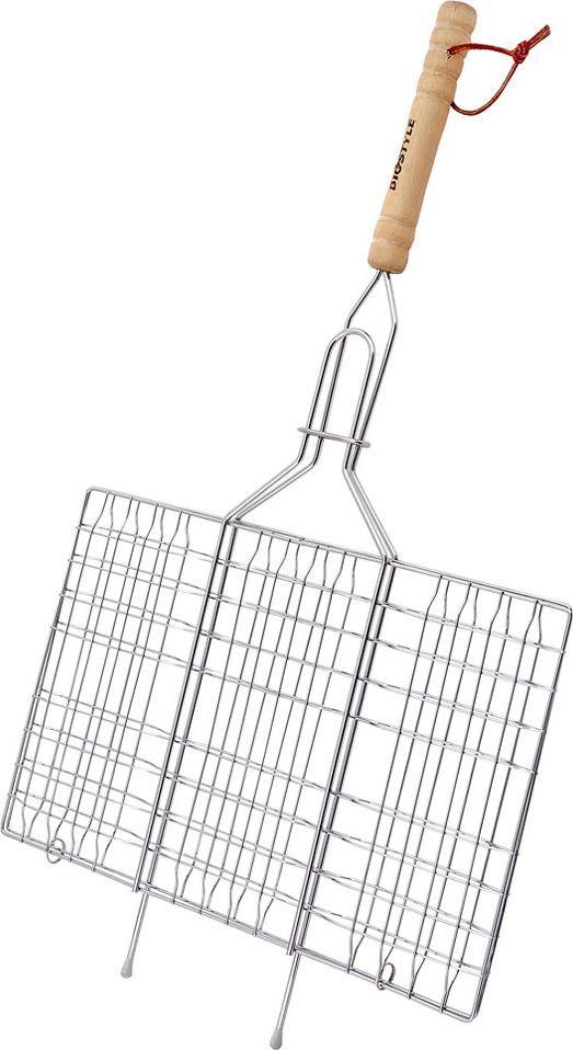 Решетка-гриль Biostyle Походная, 33 х 21,5 см101-103Размер 330*215 мм. В решетке-гриль удобно готовить мясо, рыбу, птицу, морепродукты и овощи крупными, цельными кусками. При длительном использовании решетка не теряет формы. Толщина проволоки 1,3 мм.