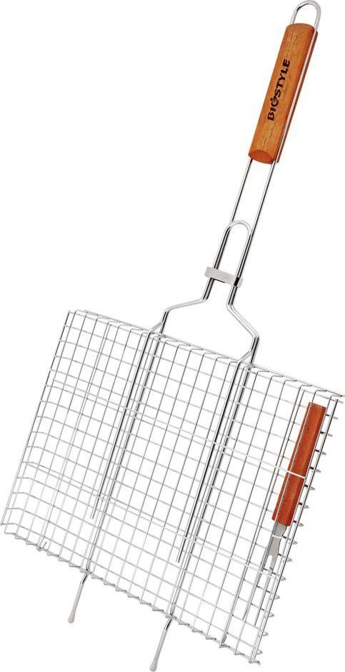 Решетка-гриль Biostyle Дачная, с вилкой, 36 х 26,5 см101-201В ней удобно готовить дичь, рыбу, ребрышки барашка и многое другое. В комплекте вилка. Толщина прута 2 мм.