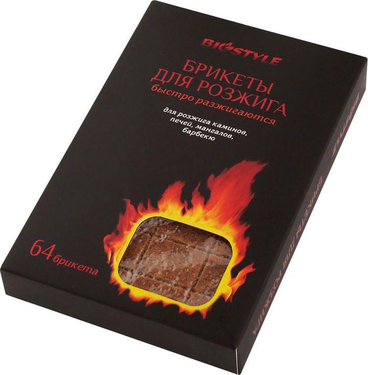 Брикеты для розжига Biostyle, 64 кубика101-401Для разжигания угля, дров, топок, костров, печей, мангалов и грилей. Время горения 1шт. – 6 мин. Упаковка - пленка.
