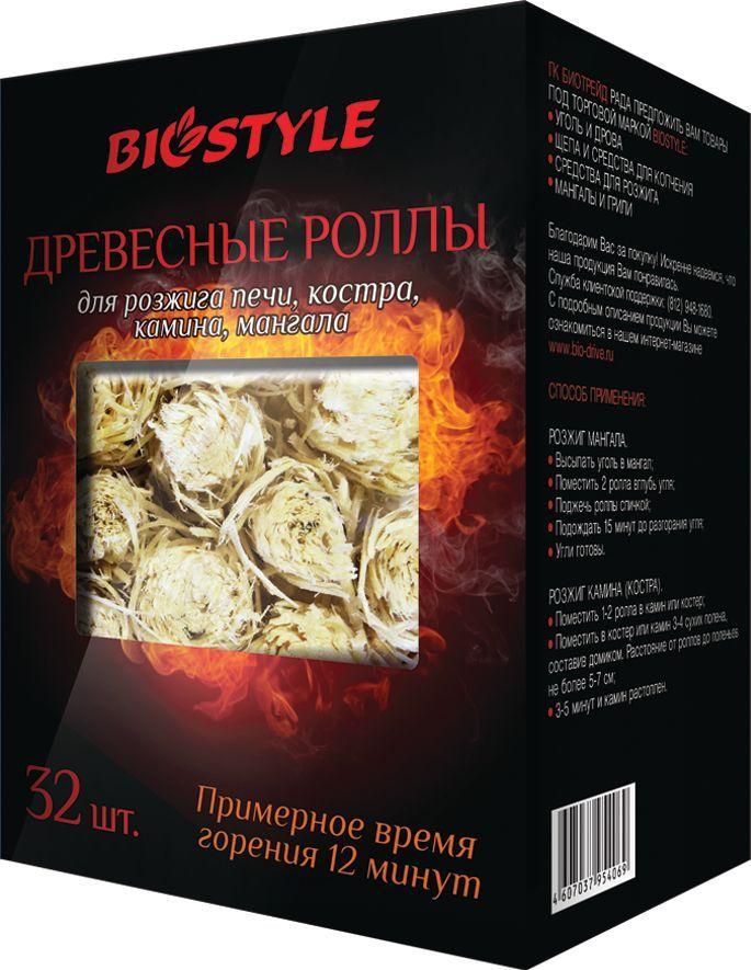 Древесные роллы для розжига Biostyle, 32 шт101-407Древесные роллы для розжига печи, костра, камина, мангалов Biostyle 32 шт в упаковке. Время горения 8 минут. Древесная стружка пропитанная парафином.