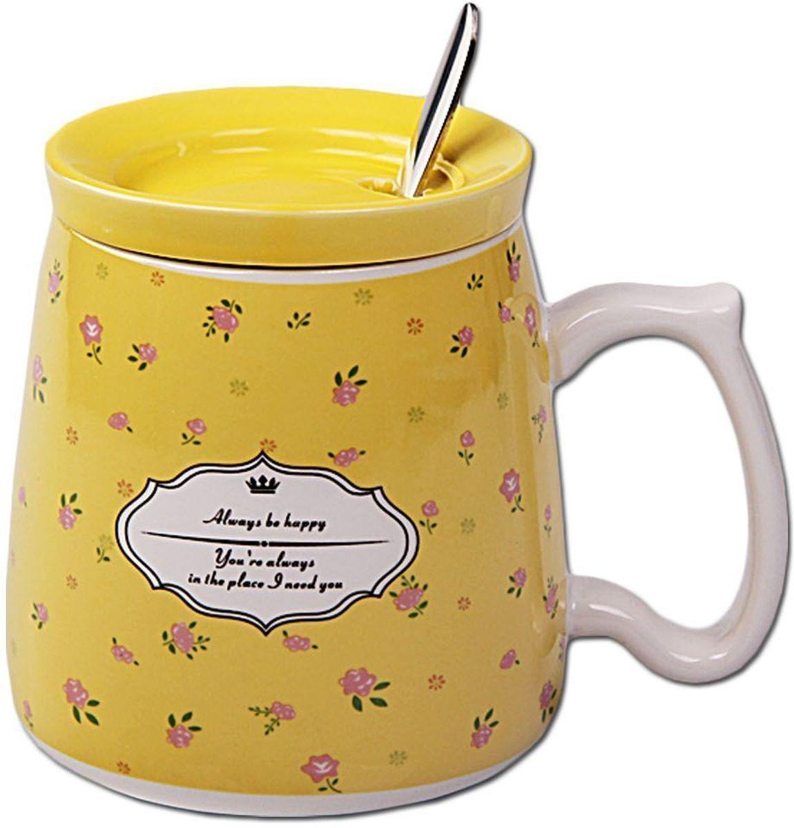 Кружка Patricia, с ложкой и крышкой, 350 мл. IM99-0554/желтыйIM99-0554/желтыйКружка выполнена из керамики высшего качества, ложка из стали. Изделие декорировано ярким цветочным принтом. Кружка 10х8 см объем 350 мл, ложка длина 14,5 см.