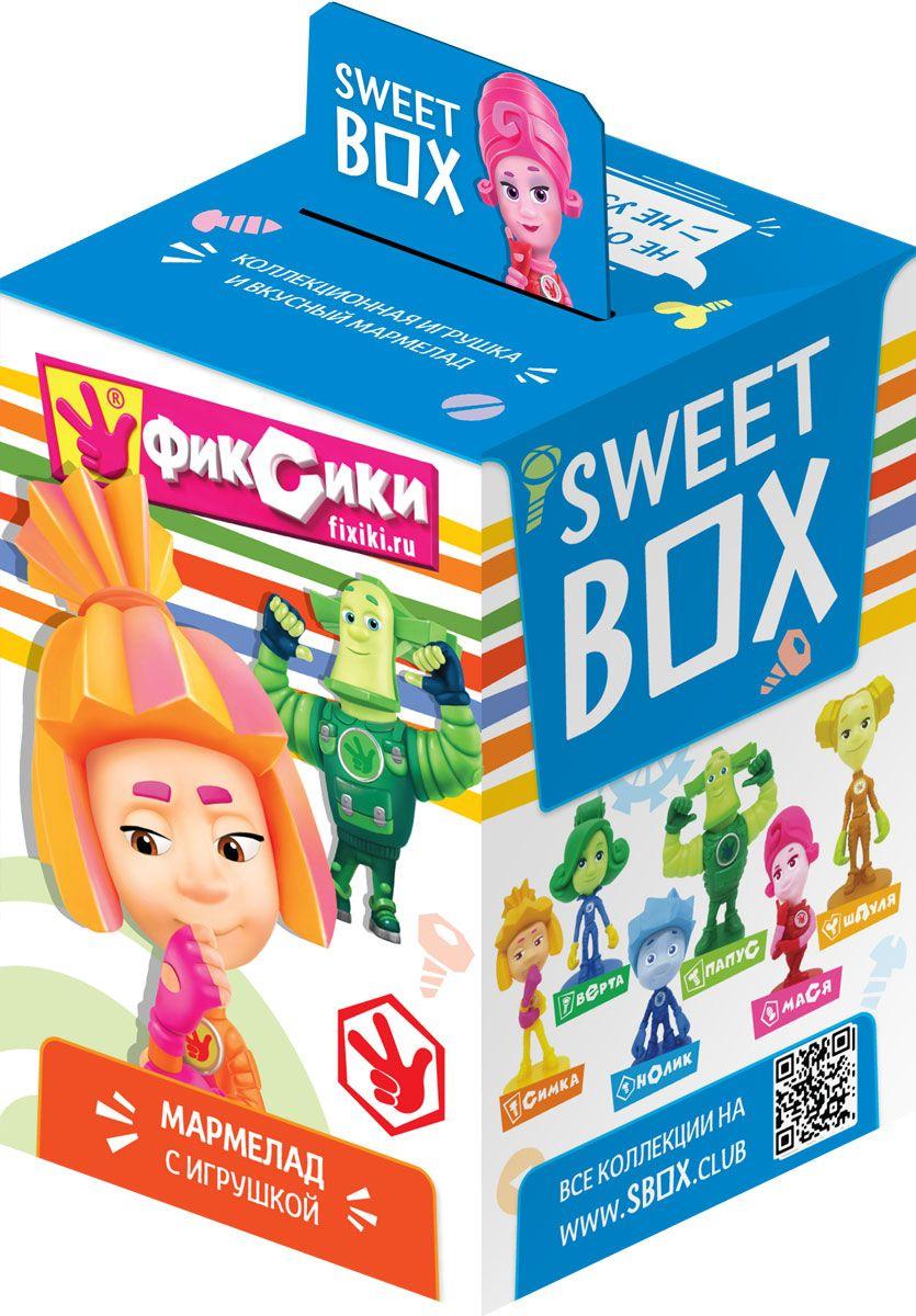Sweet Box Фиксики жевательный мармелад с игрушкой, 10 гут18998Мармелад жевательный с натуральным соком со вкусом апельсина, яблока, клубники, персика, манго Свит бокс с подарком в наборе (Фиксики), 10 г.