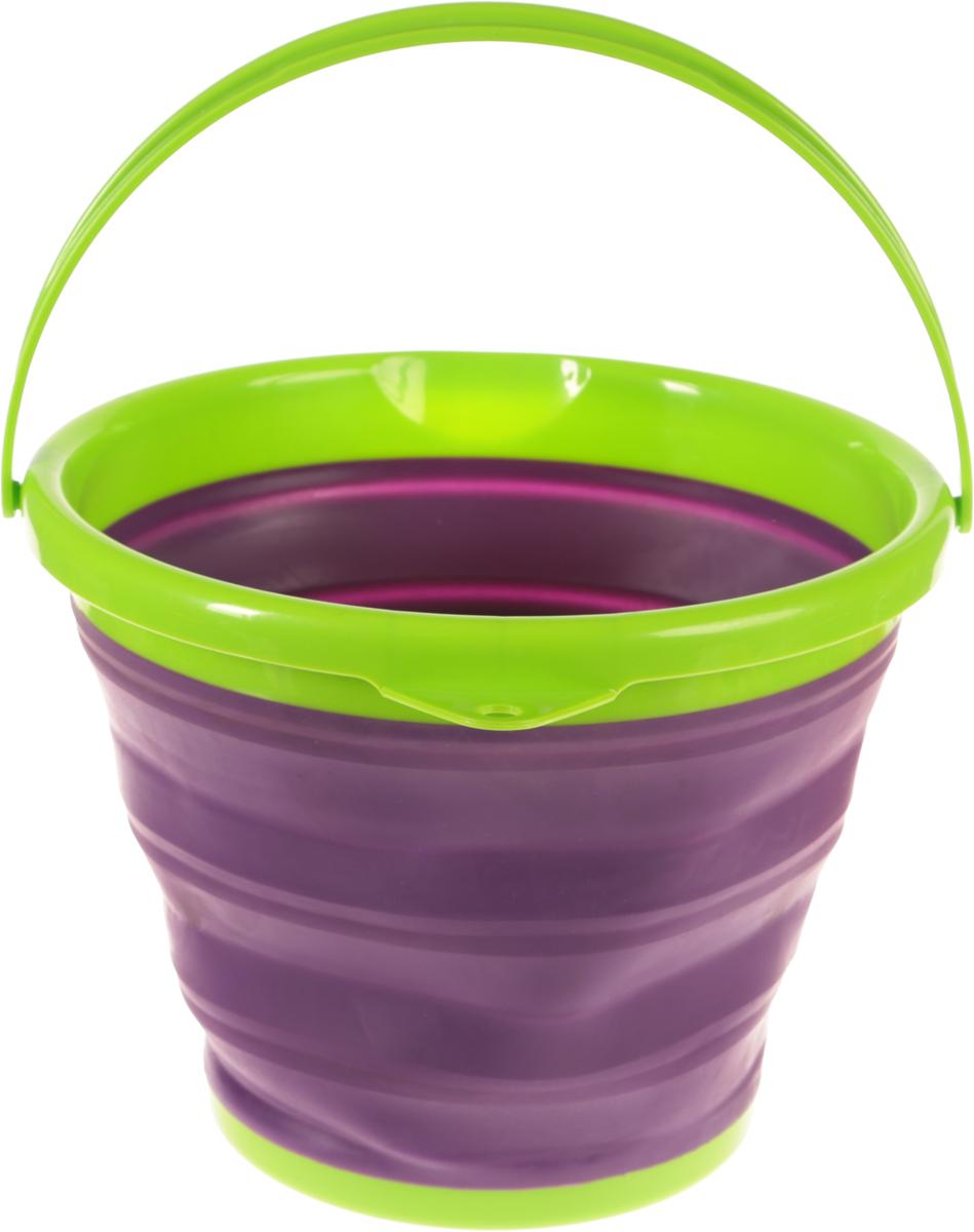 Ведро складное York Prestige, цвет: фиолетовый, салатовый, 10 л7113Складное ведро York Prestige изготовлено из термопластичной резины и пластика. Благодаря гибкости и пластичности материала, ведро легко складывается и раскладывается. В сложенном состоянии занимает минимум места. Пластиковые вставки отлично держат форму изделия. Ведро прекрасно подходит для хранения различных бытовых вещей и других предметов. Для удобной переноски имеется пластиковая ручка. Такое практичное и функциональное ведро пригодится в любом хозяйстве. Высота в сложенном виде: 5 см.