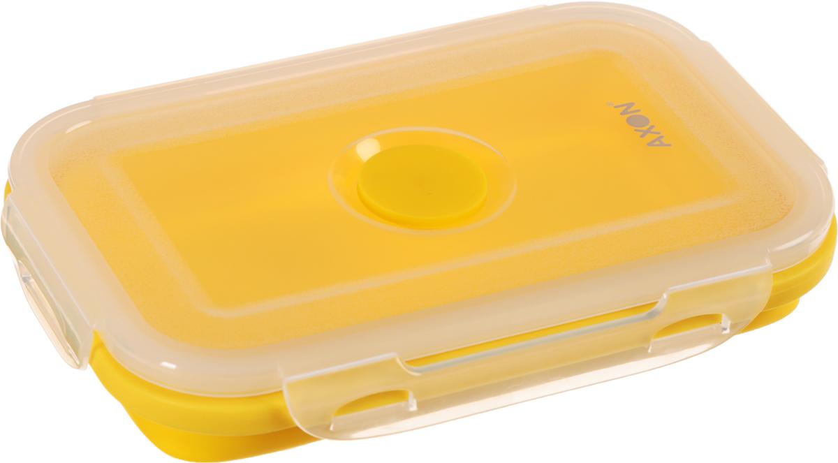 Контейнер для еды складной Axon, цвет: желтый, прозрачный, 17 х 11 х 6,5 смVC-202Складной силиконовый контейнер Axon для еды станет вашим надежным помощником на кухне. Контейнер абсолютно герметичен. Пластиковая крышка оснащена четырьмя специальными защелками и выпускным клапаном. Силикон не впитывает запахи. Используйте контейнер для хранения и транспортировки любых пищевых продуктов: салатов, овощей, фруктов, соусов, мясных и рыбных блюд. Контейнер позволяет разогревать продукты в микроволновке, но без крышки, и замораживать в морозилке. После использования контейнер можно просто сложить, но становится в два раза меньше по высоте. Можно мыть в посудомоечной машине. Размер в разложенном виде (с учетом крышки): 17 х 11 х 6,5 см. Размер в сложенном виде (с учетом крышки): 17 х 11 х 3 см.
