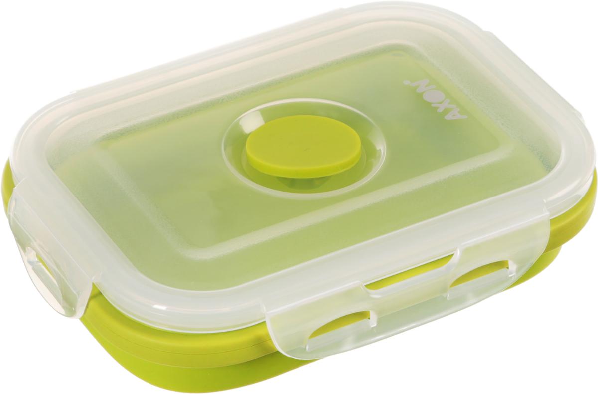 Контейнер для еды складной Axon, цвет: салатовый, прозрачный, 13,5 х 10 х 6,5 смVC-201Складной силиконовый контейнер Axon для еды станет вашим надежным помощником на кухне. Контейнер абсолютно герметичен. Пластиковая крышка оснащена четырьмя специальными защелками и выпускным клапаном. Силикон не впитывает запахи. Используйте контейнер для хранения и транспортировки любых пищевых продуктов: салатов, овощей, фруктов, соусов, мясных и рыбных блюд. Контейнер позволяет разогревать продукты в микроволновке, но без крышки, и замораживать в морозилке. После использования контейнер можно просто сложить, но становится в два раза меньше по высоте. Можно мыть в посудомоечной машине. Размер в разложенном виде (с учетом крышки): 13,5 х 10 х 6,5 см. Размер в сложенном виде (с учетом крышки): 13,5 х 10 х 3 см.