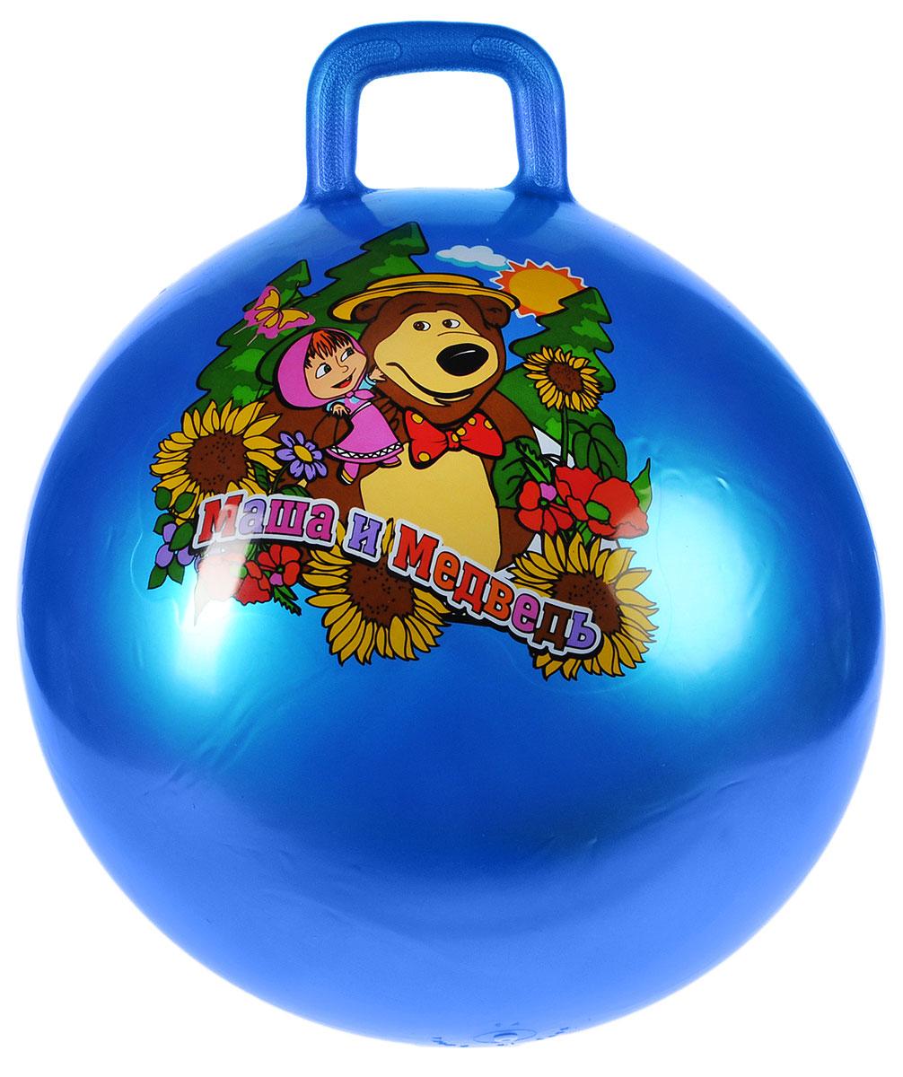 Играем вместе Мяч-прыгунок Маша и Медведь с ручкой цвет синий 55 см