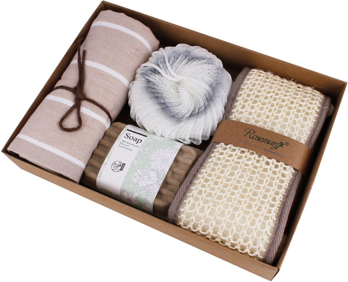 Набор банных аксессуаров Patricia, 5 предметов, цвет: бежевый, серый. IM99-1333/1IM99-1333/1Набор банных аксессуаров включает: мочалка из полиэтилена 11х11 см; мочалка из сизаля 60х10 см; мыло натуральное 8х6х2 см; полотенце хлопок 75х35 см; мыльница 10х8 см. Такой набор станет не заменимым и сделает банную процедуру еще более комфортной.