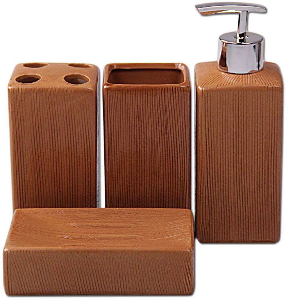 Набор для ванной Patricia, 4 предмета, цвет: коричневый. IM99-2384IM99-2384Набор для ванной комнаты выполнен из керамики. Изделия декорировано под дерево. Набор для ванной можно использовать не только в качестве полезной детали но и как отдельный аксессуар. Набор для ванной включает в себя дозатор 17х6х6 см; подставка для зубных щеток 12х6х6 см; стакан 12х6х6 см; мыльница 12,5х9х3 см. Такой набор - это прекрасное дополнение вашей ванной комнаты.