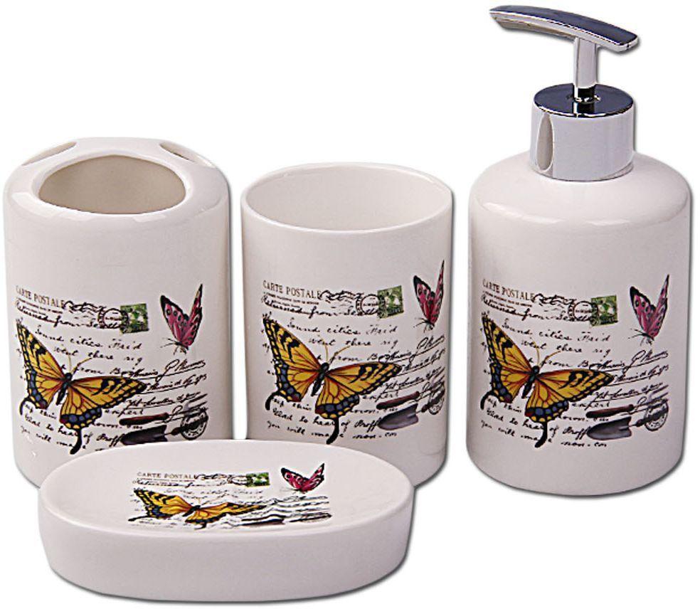 Набор для ванной Patricia, 4 предмета, цвет: белый, желтый. IM99-2386IM99-2386Набор для ванной комнаты выполнен из керамики. Изделия декорированы яркими рисунками с изображение бабочек. Набор для ванной можно использовать не только в качестве полезной детали но и как отдельный аксессуар.Набор для ванной включает в себя:дозатор 15х6х6 см; стакан 9,5х6,5х6,5 см; подставка под зубные щетки 10х7х7 см; мыльница 11,5х8х2,5 см. Такой набор - это прекрасное дополнение вашей ванной комнаты.