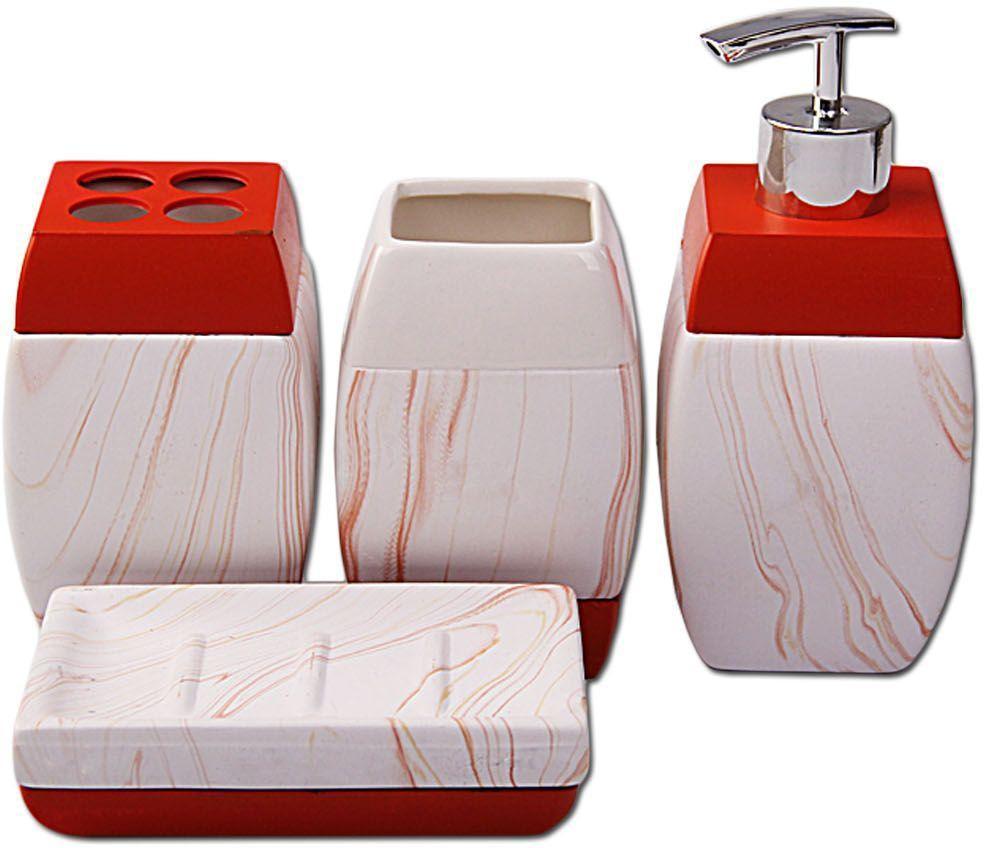 Набор для ванной Patricia, 4 предмета, цвет: белый, красный. IM99-2388IM99-2388Набор для ванной комнаты выполнен из керамики. Изделия декорированы яркими полосками. Набор для ванной можно использовать не только в качестве полезной детали но и как отдельный аксесуар. Набор для ванной включает в себя:дозатор 16,5х7х7 см; подставка для зубных щеток 11,5х7х7 см; стака 11,5х7х7 см; мыльница 12,5х9х3 см. Такой набор - это прекрасное дополнение вашей ванной комнаты.