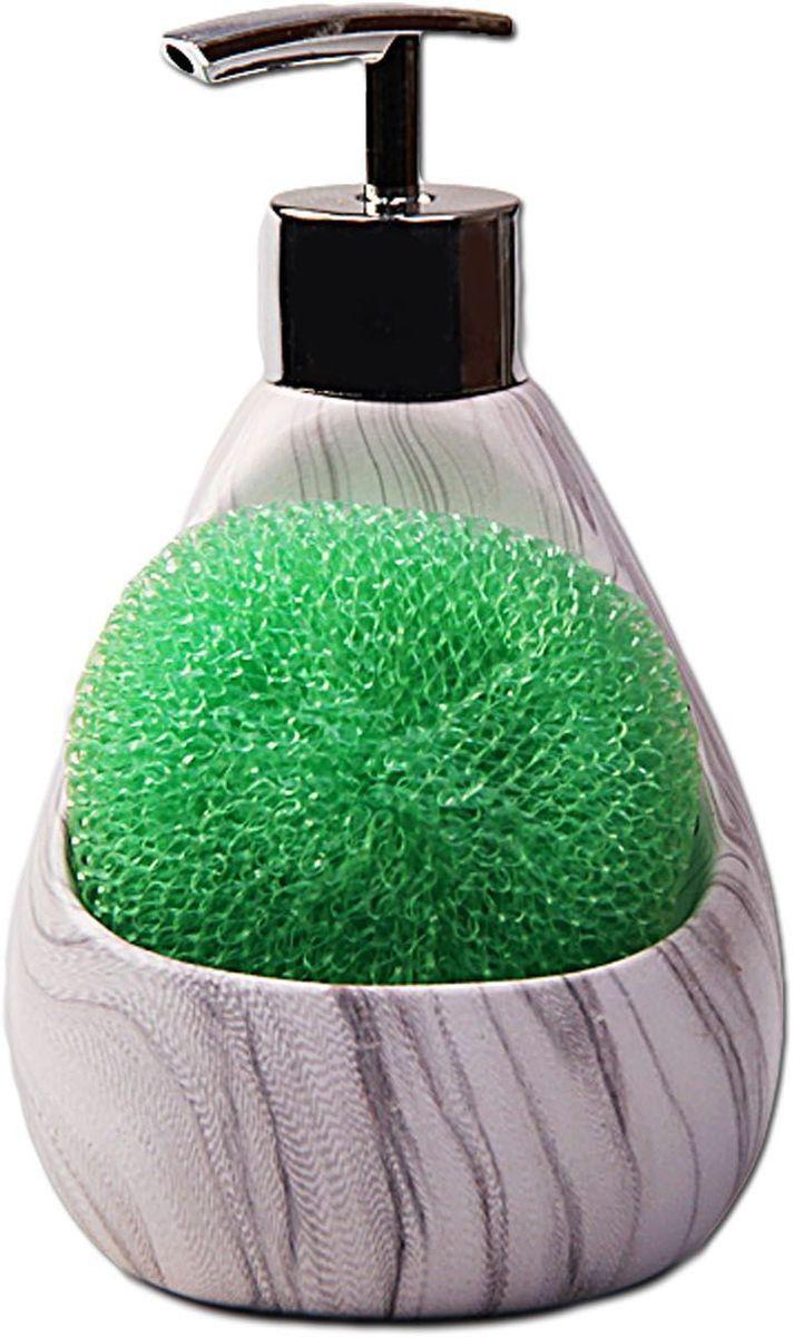 Дозатор для моющих средств Patricia, с губкой, цвет: серый. IM99-2389IM99-2389Диспенсер для моющих средст выполнен из керамики очень удобен в применении. Дозатор 16х10х10, губка 7,5х7,5.