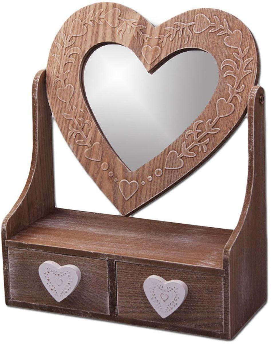 Зеркало Patricia, с шкатулкой, 38 х 22 х 14 см, цвет: коричневый. IM99-2632IM99-2632Прекрасная шкатулка с зеркальцем выполнена из дерева,ручки декорированы формой сердца. Шкатулка имеет два выдвижных ящика, длина 13 см, ширина 12 см, высота 6,2 см, глубина 5,8 см. Зеркало прикручено с двух сторон специальным устройством,которое позволяет зеркальце переворачиваться: длина 27 см, ширина 1 см, высота 27 см, диаметр зеркала 19,5 см. Шкатулка 30х13х37 см.