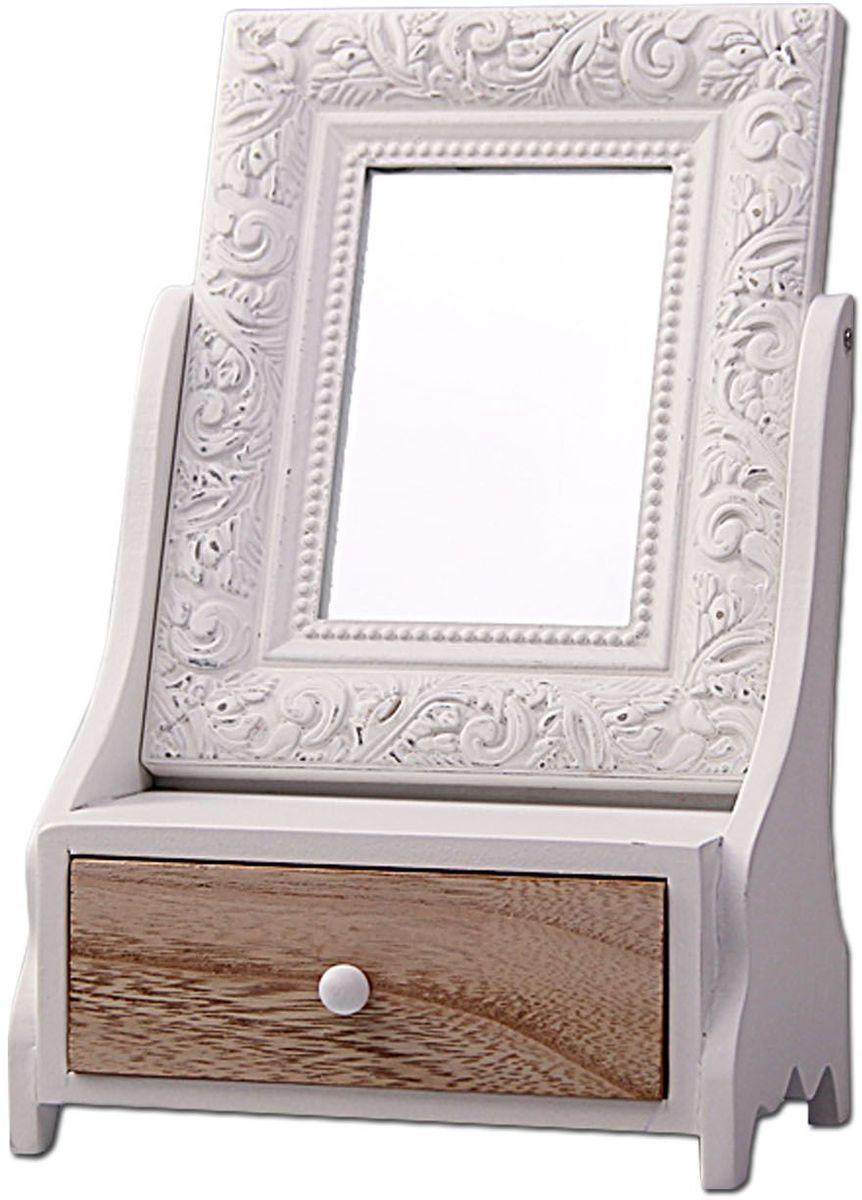Зеркало Patricia, с шкатулкой, 35 х 19 х 14 см, цвет: белый. IM99-2633IM99-2633Прекрасная шкатулка с зеркальцем выполнена из дерева. Шкатулка одну выдвижную полку длина 13 см, ширина 10,5 см, высота 4 см, глубина 3,5 см. Зеркало прикручено с двух сторон специальным устройством,которое позволяет зеркальце переворачиваться: длина 15 см, ширина 1 см, высота 19 см, диаметр зеркала 7,5 см. Шкатулка 17х11,5х27 см.